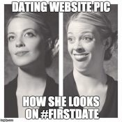 #firstdate What she looks like in profile then when you meet